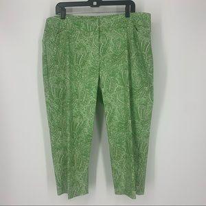 Talbots Capri Pant Green White Paisley Plus Size